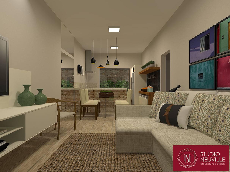 Integração de área social e cozinha de um projeto 70 m². #6C3A31 1214 911